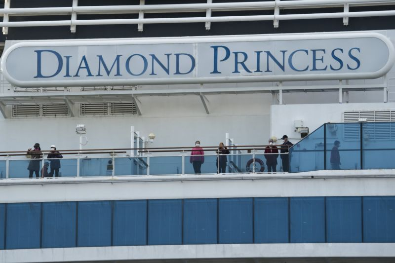 The Diamond Princess cruise ship in Yokohama, Japan, in February 2020.