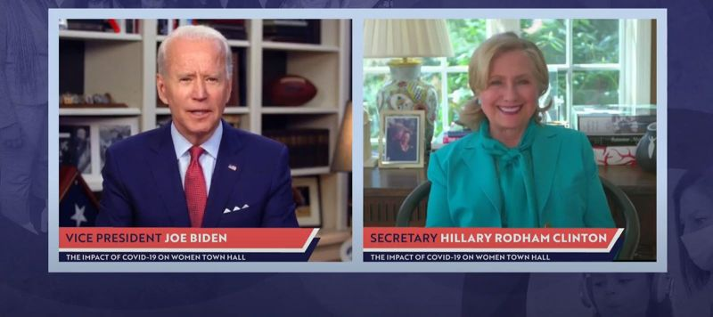 Former Secretary of State Hillary Clinton endorses former Vice President Joe Biden for president during a live streamed town hall on April 28, 2020 in Wilmington, Delaware.