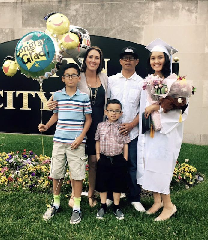Saray Im and his family at his daughter Jassy's high school graduation in front of Lynn City Hall in 2016. (Courtesy IM family)
