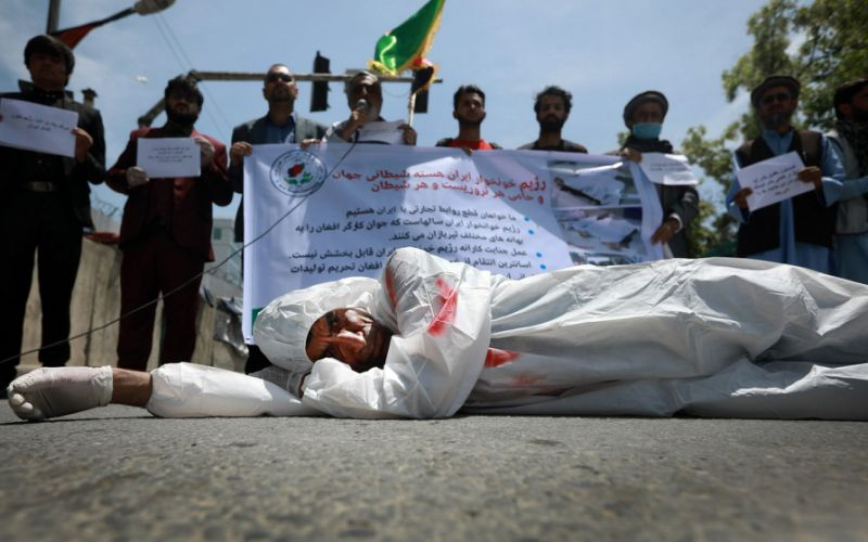 Afghan protesters outside the Iranian embassy in Kabul on May 7 - JAWAD JALALI/EPA-EFE/Shutterstock