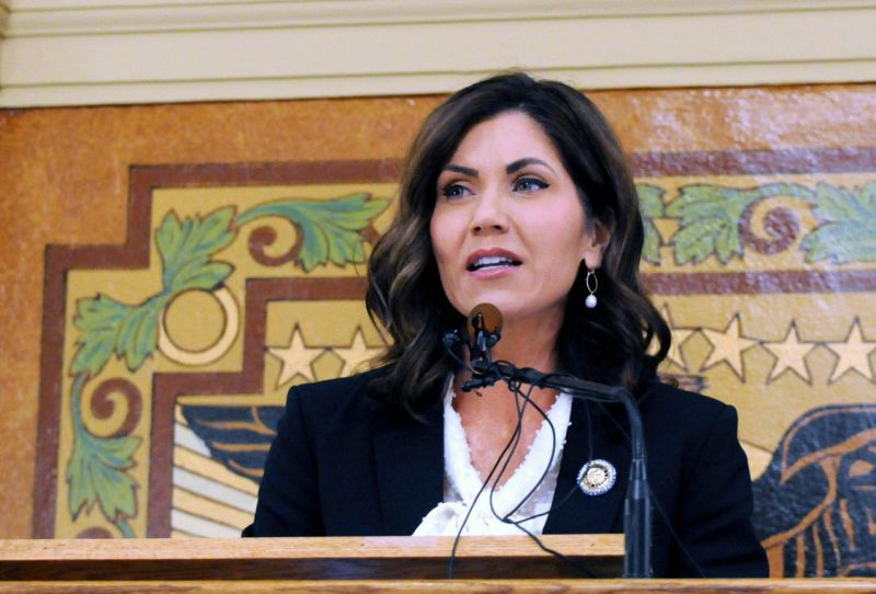 FILE - In this Jan. 2019 file photo, South Dakota Gov. Kristi Noem gives her first State of the State address in Pierre, S.D. South Dakota Gov. A Native American tribe has told South Dakota Gov. Kristi Noem she's not welcome on one of largest reservations in the country after she led efforts to pass a state law targeting demonstrations such as those in neighboring North Dakota that plagued the Dakota Access oil pipeline. The Oglala Sioux tribe on Thursday, May 2, 2019 told South Dakota Gov. Kristi Noem to stay away from the Pine Ridge Reservation until she rescinds her support for new state laws that target disruptive demonstrations by anti-oil pipeline activists. (AP Photo/James Nord, File)