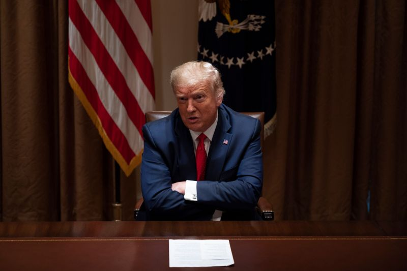 President Trump speaks to reporters at the White House in Washington, D.C., on Thursday. (Photo by Jim Watson/AFP via Getty Images)