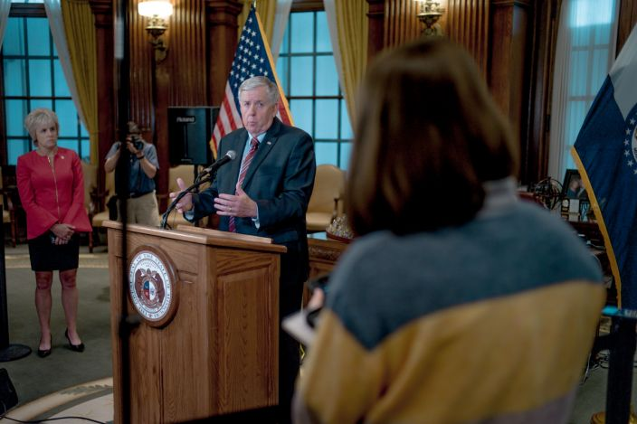 Gov. Mike Parson at a 2019 press conference in Jefferson City, Mo., to discuss the status of license renewal for the St. Louis Planned Parenthood facility. (Jacob Moscovitch/Getty Images)