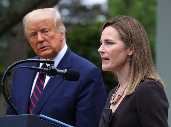 Donald Trump announced Amy Coney Barrett as his nomination for the Supreme Court on Saturday. (Getty Images)