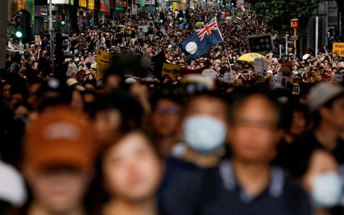 Thousands gather for a protest in Hong Kong - REUTERS/Thomas Peter
