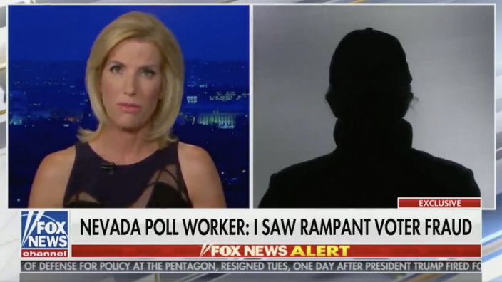 An unnamed woman told Fox News' Laura Ingraham she saw envelopes being opened and passed around near a Biden-Harris campaign vehicle, where she also saw workers opening ballots and changing the vote. (Photo: Fox News Channel)