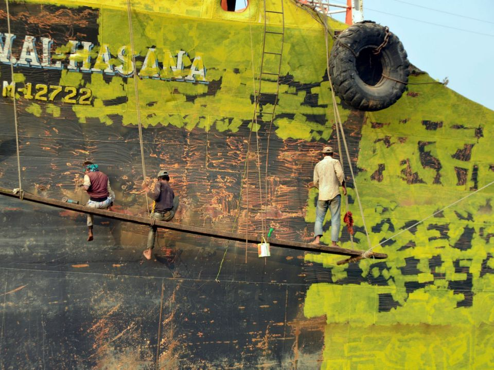 A Painter paint on a long ship at Keraniganj, Dhaka, Bangladesh on 18 February 2018. When it comes to shipping, Bangladesh is known mostly as a shipbreaking nation, with dozens of ageing container vessels heading towards its southern coast for scrap. However, in recent years it has also emerged as a shipbuilding country.