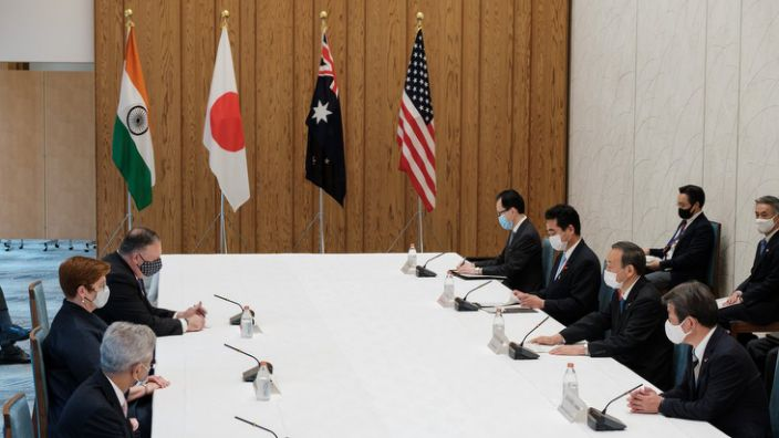 Foreign ministers from India, Japan, Australia and the US sit around a table at security talks this week