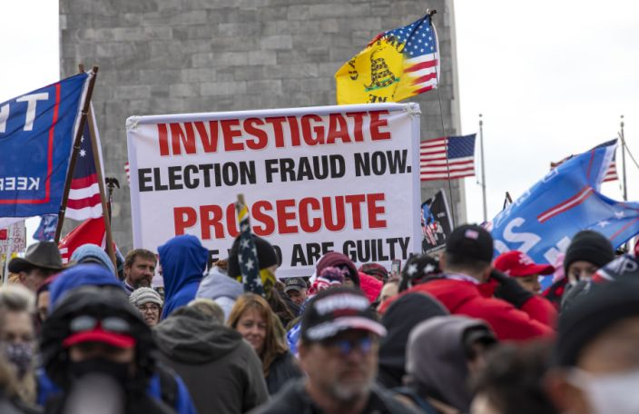 """Crowds gather outside the U.S. Capitol for the """"Stop the Steal"""" rally on January 06, 2021 in Washington, DC. (Robert Nickelsberg/Getty Images)"""